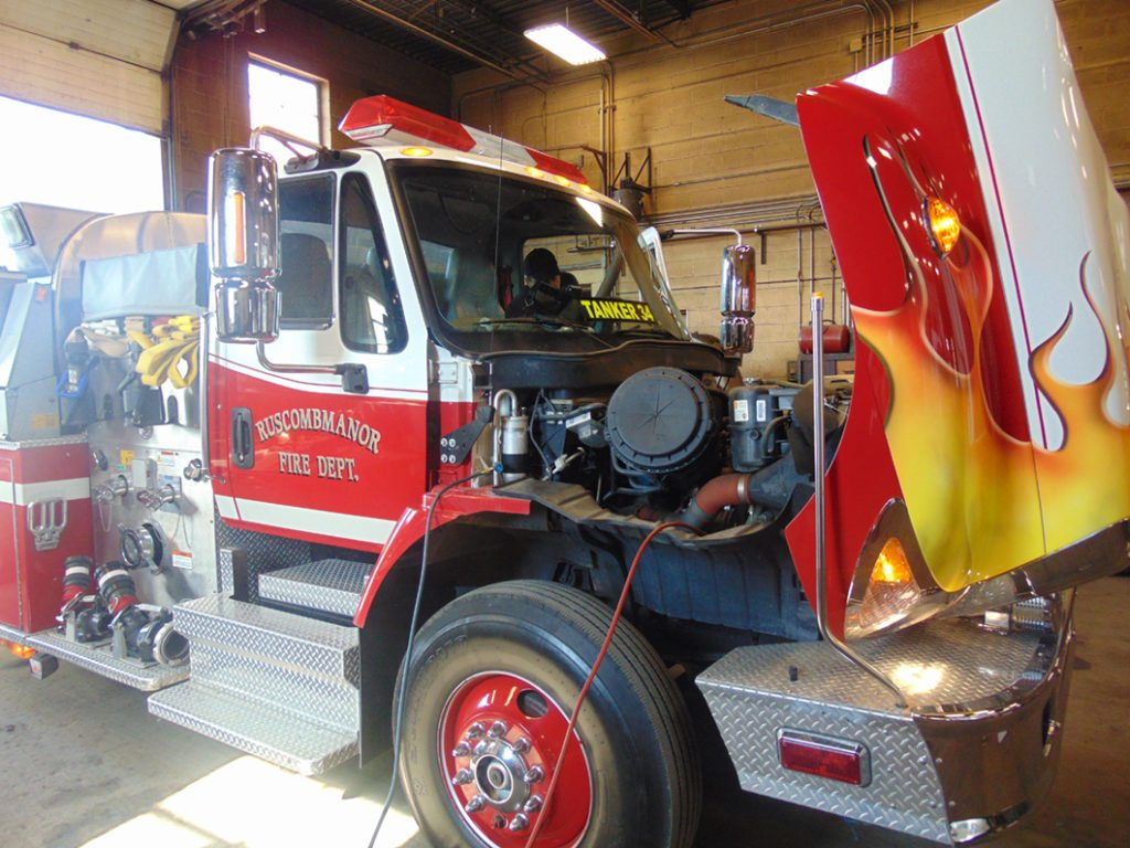 Fire Truck inspection conducted in garage